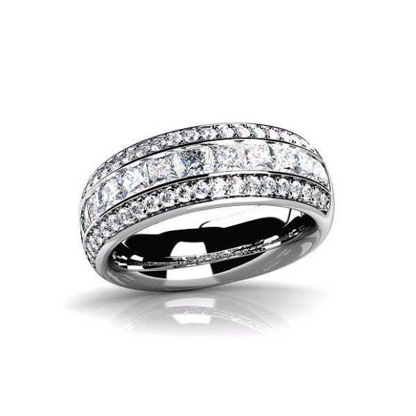 Adalyne 1CTW Channel Set Princess and Pavé Band IOBI Cultured Diamond Ring