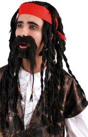 Piraten Perücke und Bart im Set