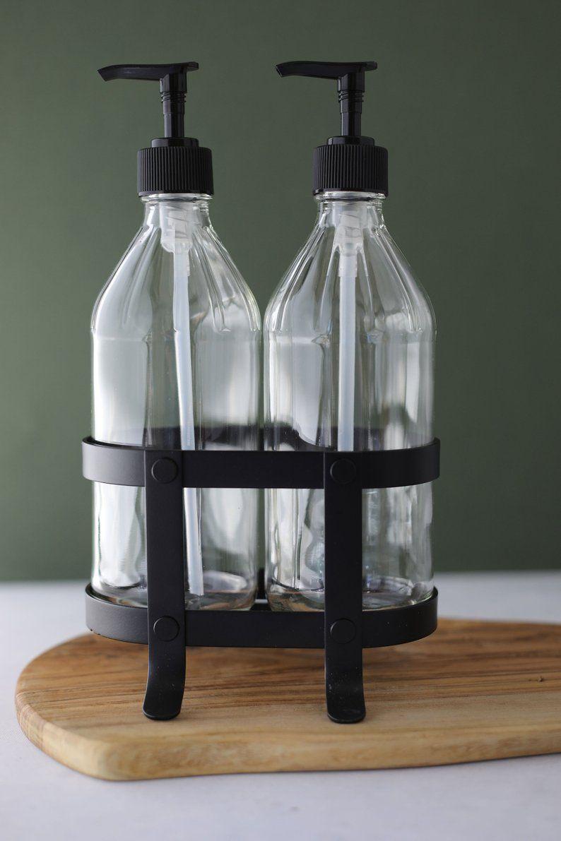 Vintage Kitchen Dish Soap Hand Soap Dispenser Set With Black Etsy In 2021 Kitchen Soap Kitchen Soap Dispenser Soap Dispenser