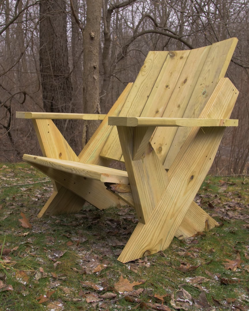 These free plans will show you exactly how to cut and build this modern Adirondack chair using $30-40 in lumber from your local lumberyard.