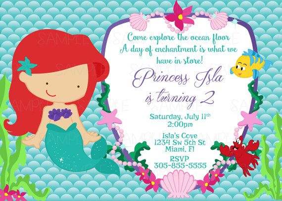 Printable Princess Ariel The Little Mermaid Birthday Party Invitation Plus FREE Blank Matching Print