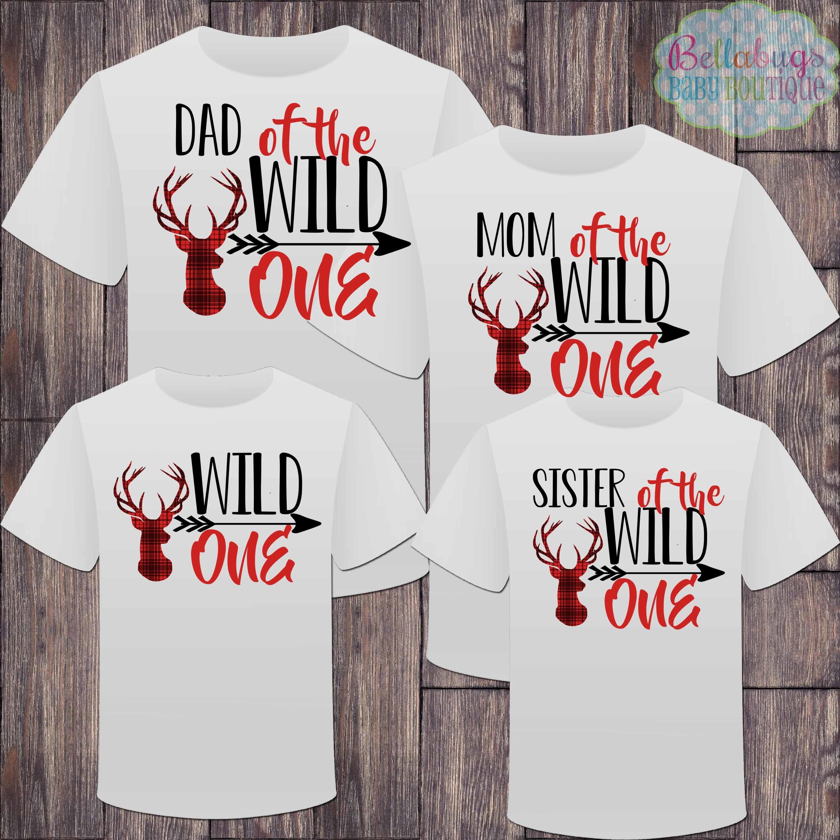 Personalized Wild ONE Birthday Shirt~Birthday Shirt~Name Shirt~Deer Antler Shirt~Buffalo Plaid Birthday Shirt~Number Birthday Shirt~ONE