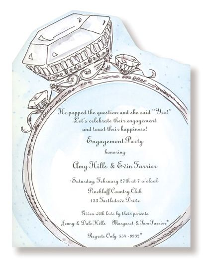 Diamond Ring Engagement Party Invitations WED UP Pinterest - Party invitation template: engagement party invitations templates