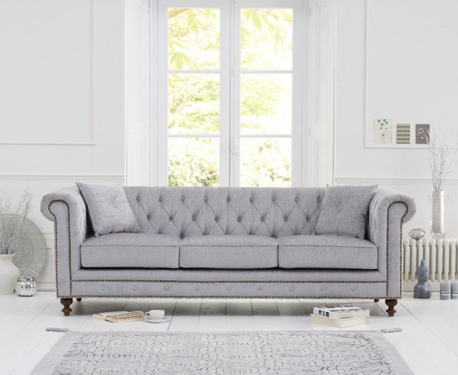 Milano Chesterfield Grey Fabric 3 Seater Sofa Grey Fabric Sofa Chesterfield Sofa Living Room Fabric Chesterfield Sofa