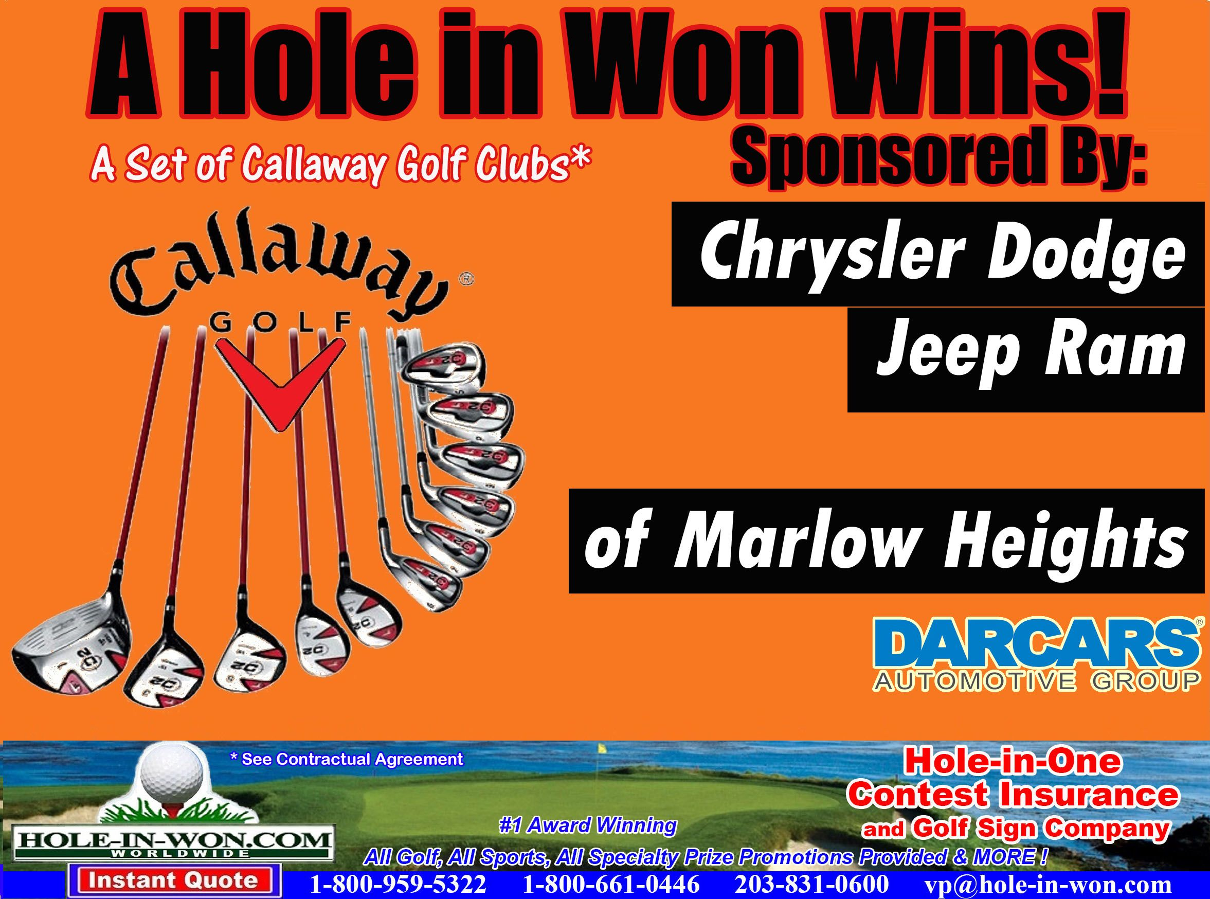 Callaway Hole in one Insurance Million Dollar Contests Golf Clubs