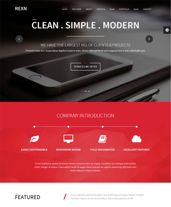 This single page WordPress theme features a responsive