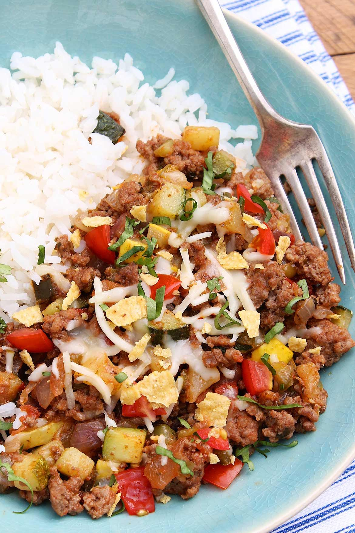Easy Zucchini Ground Beef Dinner The Fountain Avenue Kitchen Dinner With Ground Beef Beef Dinner Healthy Ground Beef