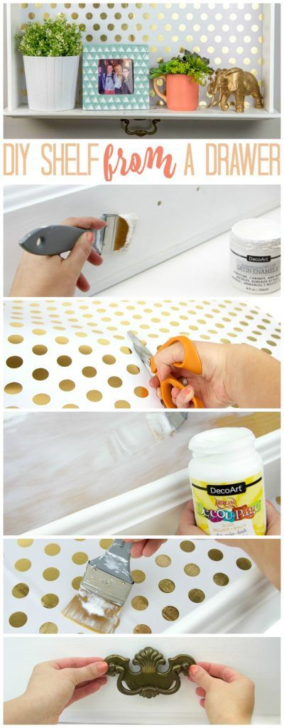 Genius Home Decor Hack: How to turn an old Dresser Drawer into a SUPER COLL Wall Shelf