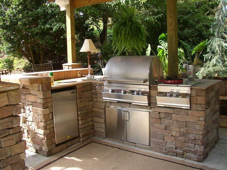 postazione cucina con barbecue esterna  Giardino  Giardinaggio in 2019  Cucine da esterno