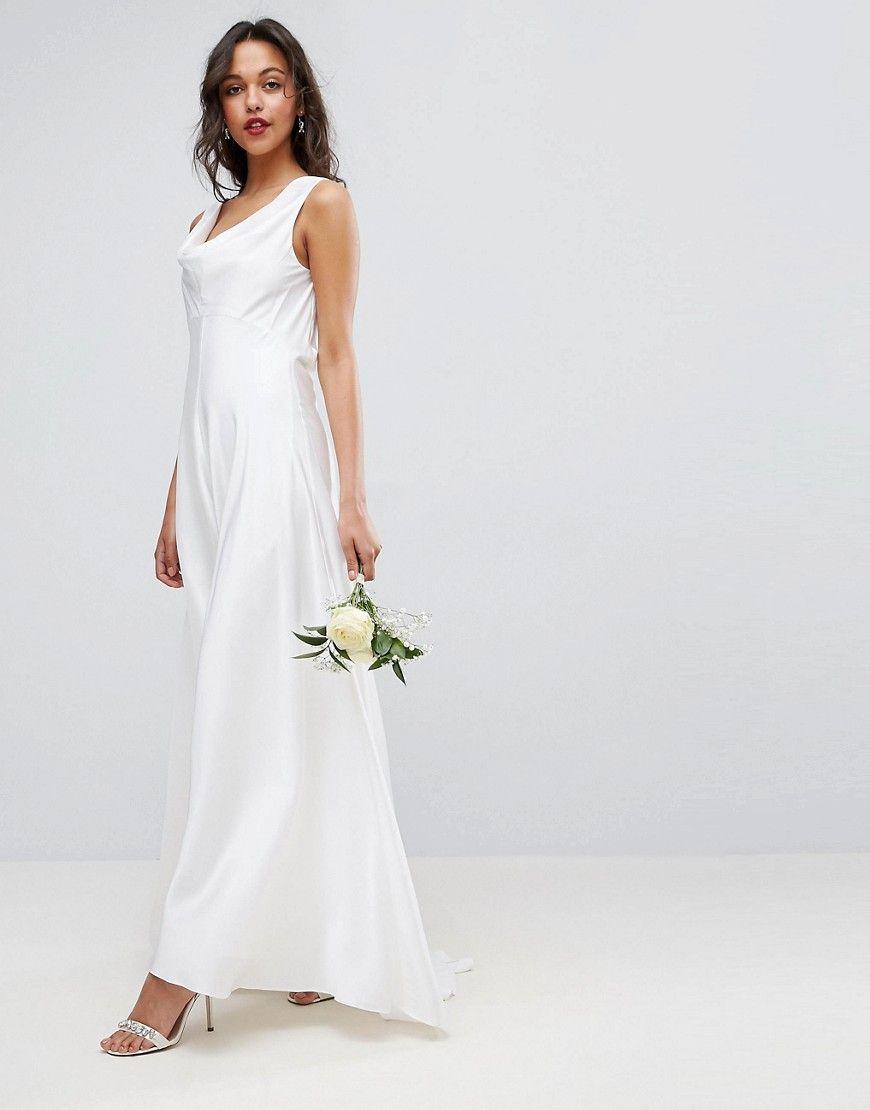 7dfde94c1364c ASOS BRIDAL Soft Drape Front Maxi Dress - Multi | Products | Dresses ...