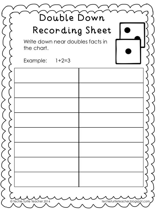 Freebie Double Down game to practice adding near doubles or – Near Doubles Addition Worksheet