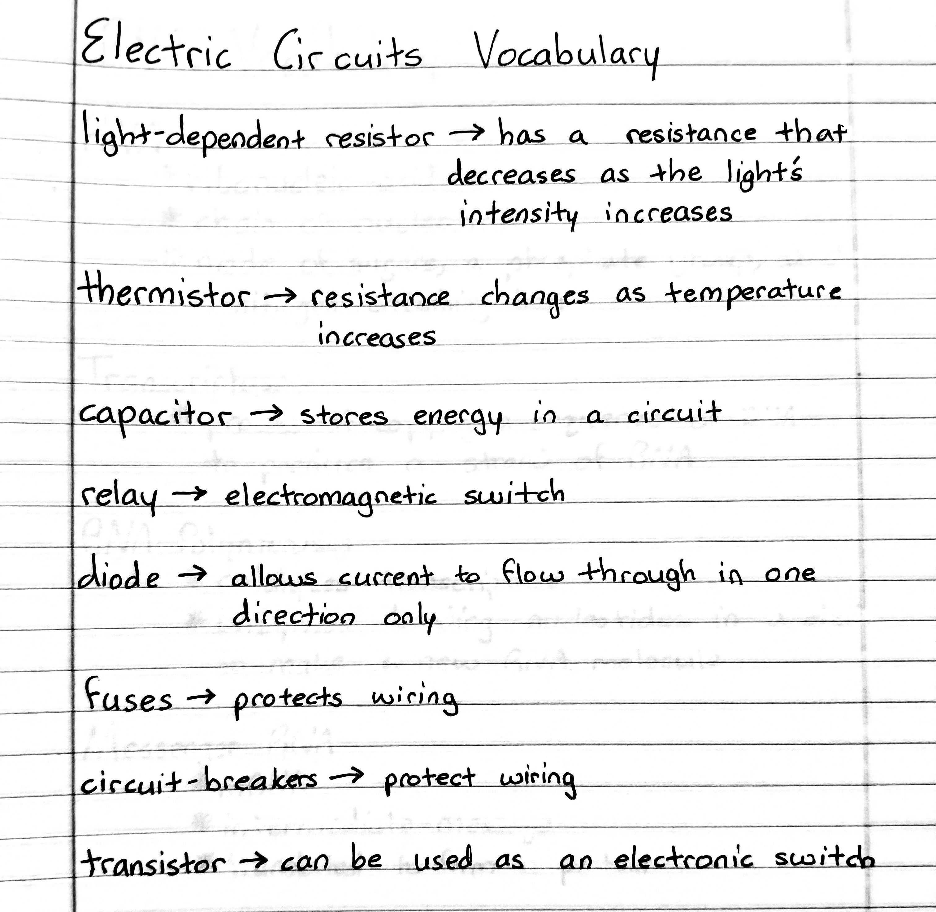 Electric Circuits Vocabulary Physics Notes Electrical Engineering Projects Electric Circuit
