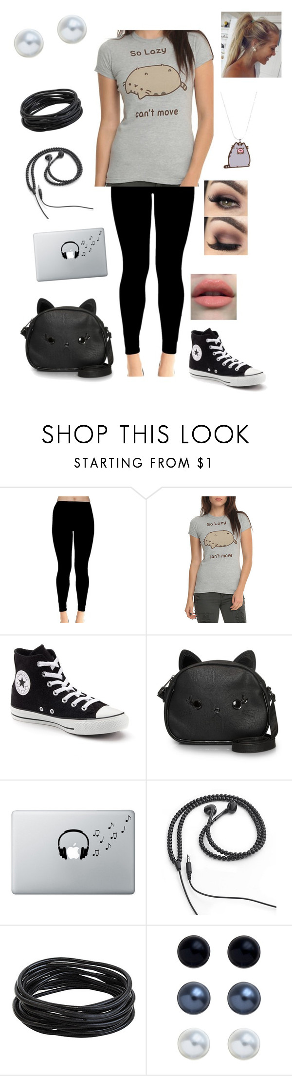 """""""Untitled #985"""" by cutiepie92343 ❤ liked on Polyvore featuring Converse, Loungefly, Music Notes, Kikkerland and John Lewis"""