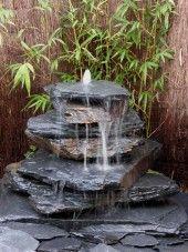 Cascade fontaine de jardin complet violet 5 pièces - Schiste ...