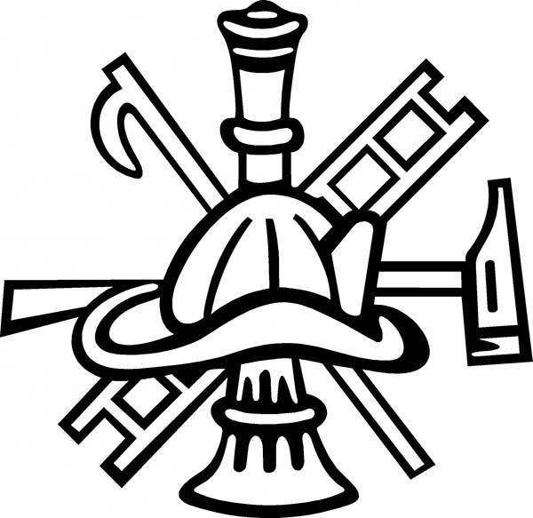 Maltese Cross Firefighter Axe Ladder And Hat Coloring Pages