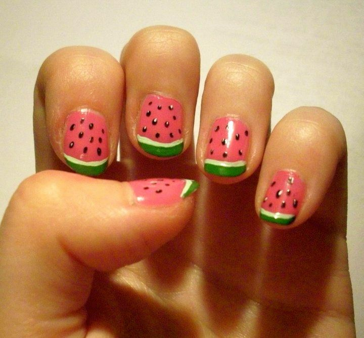 Watermelon nails.