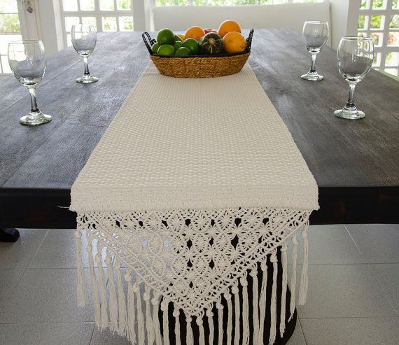 Handmade Table Runner with Macrame Finish- 100cm/ 39inch ...