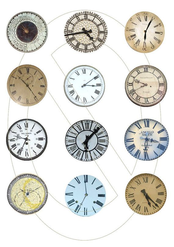 Digital collage sheet with clock faces, digital images, use as many