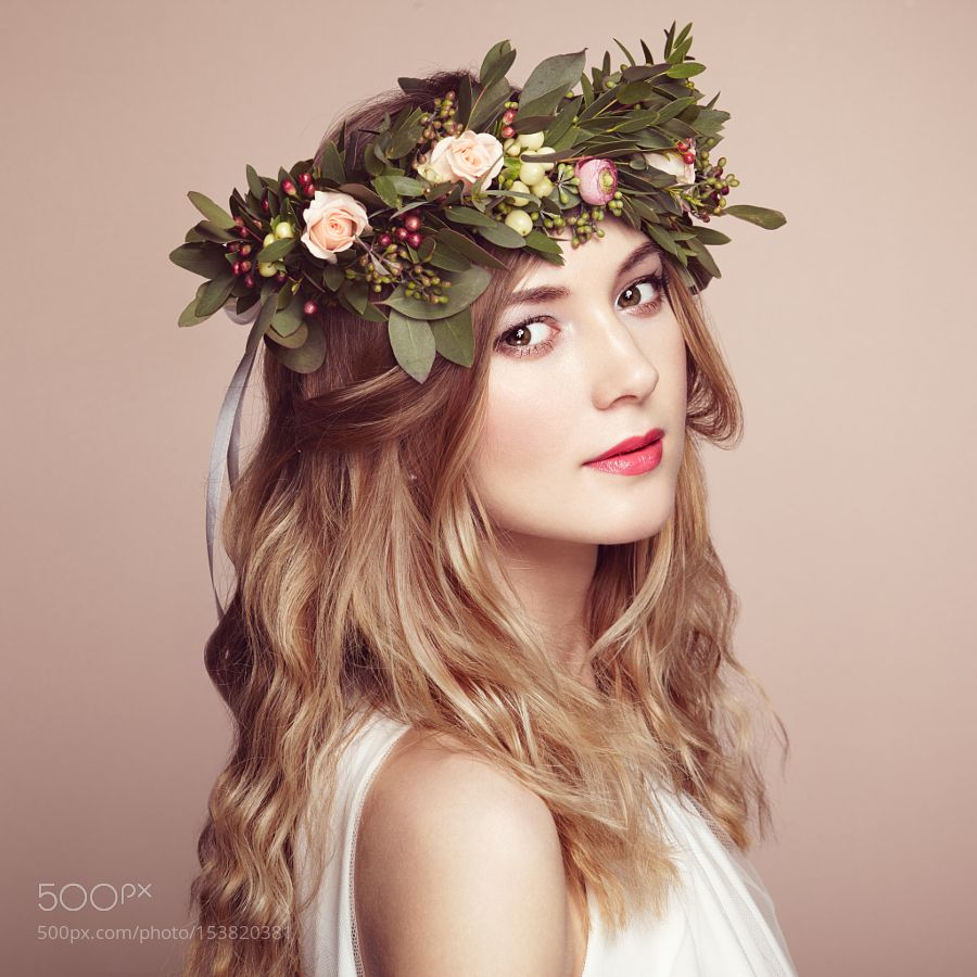 Beautiful blonde woman with flower wreath on her head by beautiful blonde woman with flower wreath on her head by heckmannoleg izmirmasajfo Image collections