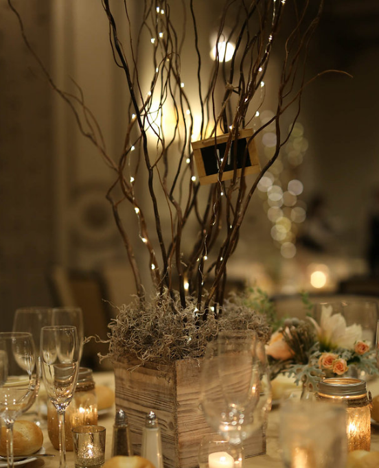 Reception Centerpiece Using Reclaimed Wood Containers And