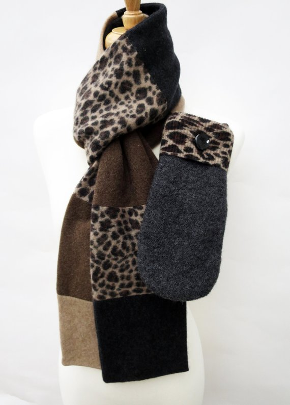 Upcycled Luxurious Cashmere Scarf and sweater mittens
