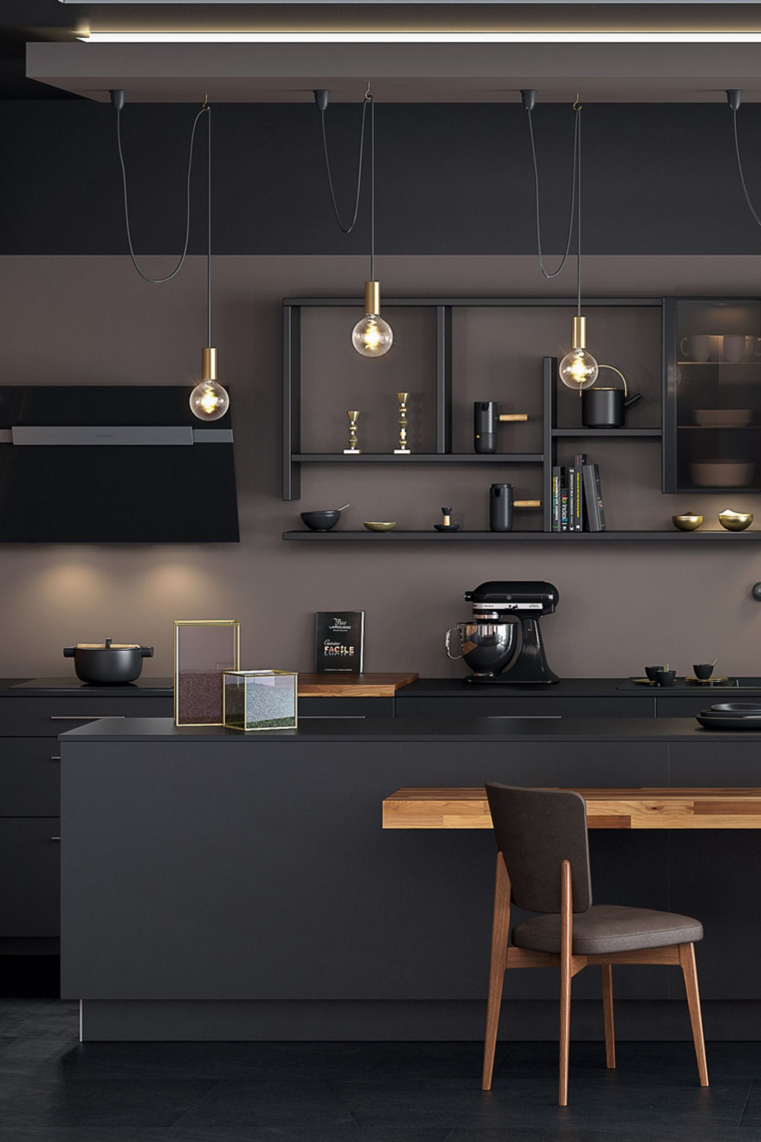 20+ Credence cuisine noir mat trends
