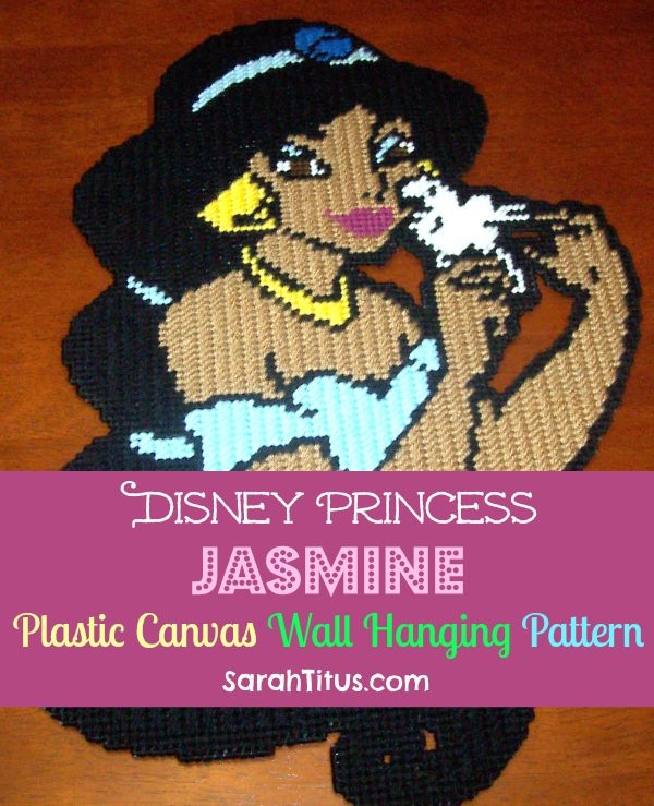 Disney Princess Jasmine Plastic Canvas Wall Hanging Pattern