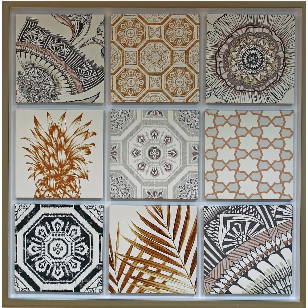 A Metallic Framed Set Of 9 Mini Canvas The Geometric Motifs In A Golden Colorway Will Create Very Much On In 2020 Canvas Frame Framed Canvas Wall Art Canvas Wall Art