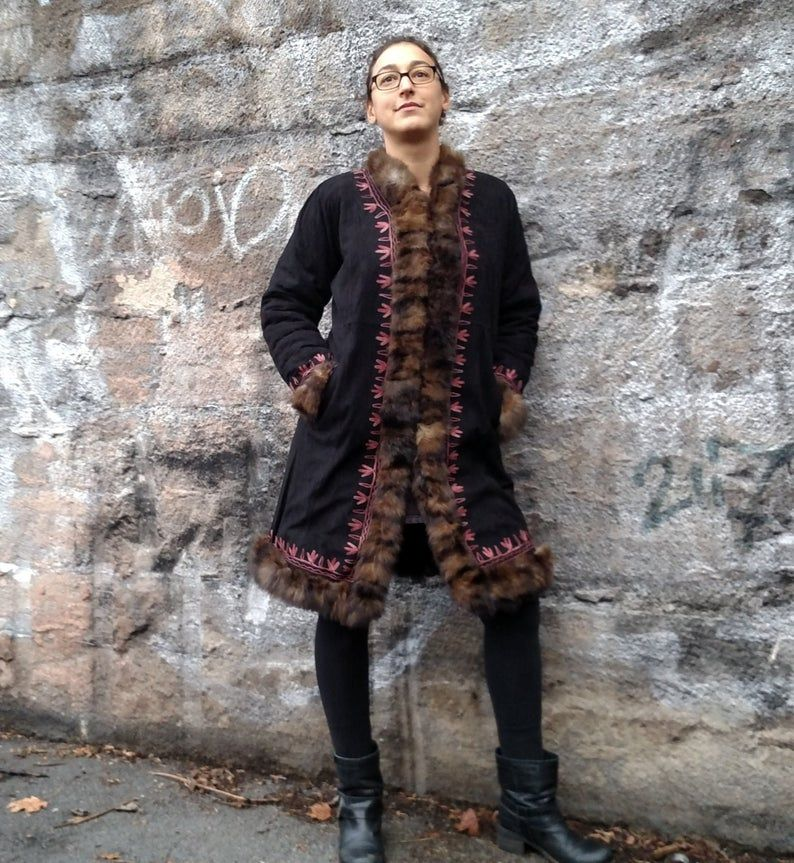 Leather Coat 100 Handmade Leather Fur Long Jacket Hand