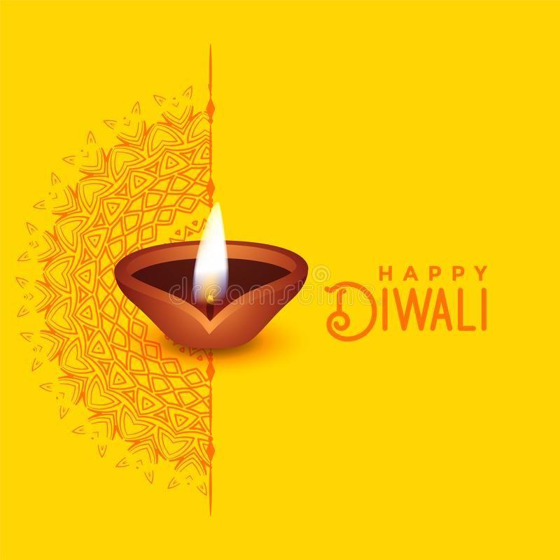 Beautiful Diwali Greeting Card Design With Mandala Art And Diya Stock Vector - Illustration of religion, lamp: 128848100