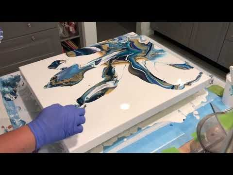 Ninja swipe! beautiful outcome/acrylic pour/Arteza