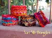 Locker Hooked Sari Silk Bangles (free downloadable pattern). This is perfect...I have lots of Sari Silk!!