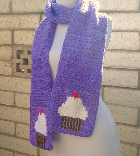 NEW! Cupcake Scarf - Purple Scarf for Women or Teenage Girls with White Cupcakes - Crochet Scarves - Crocheted Scarf - Warm, Soft, Long Scarf by HoookedHandmade