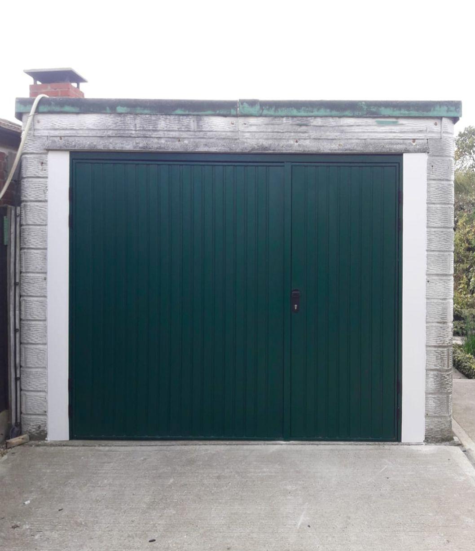 Cardale Gemini Side Hinged Garage Doors Finished In Moss Green Side Hinged Garage Doors Garage Door Hinges Garage