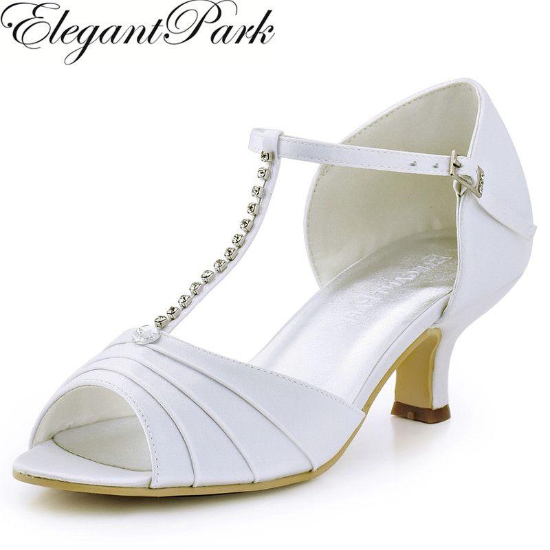 Femmes Chaussures Blanc Ivoire Bas Talon T strap Strass Pompes Satin De Bal  De Mariage De Mariée Chaussures Femme Sandales Chaussures De Mariage EL 035  dans ...