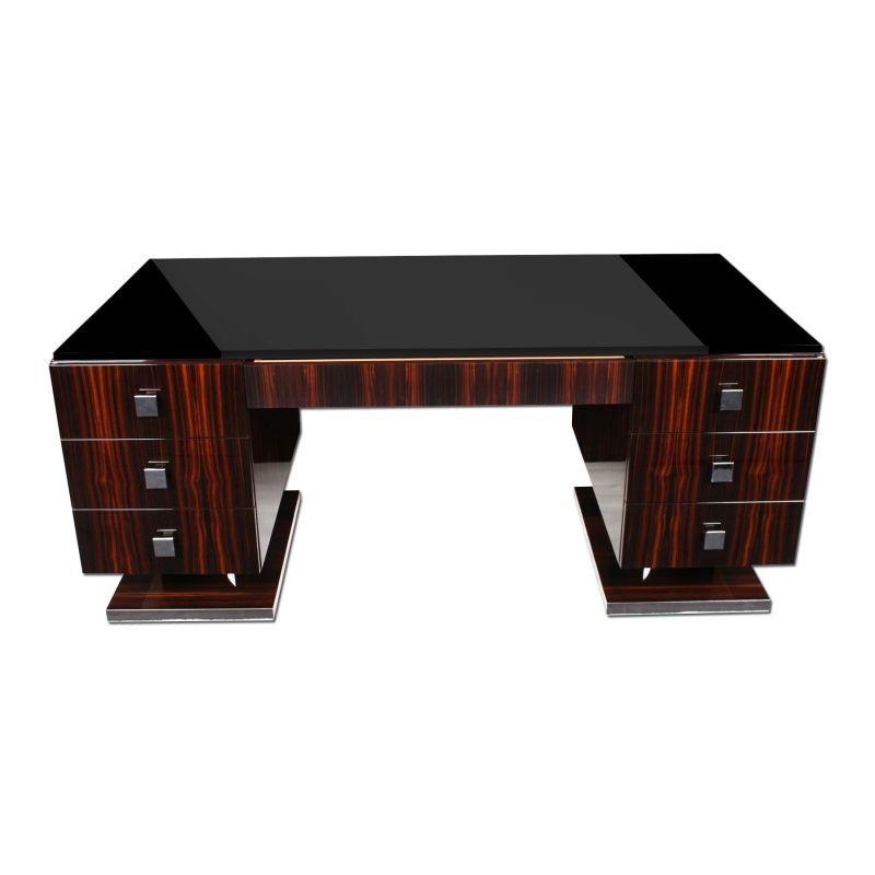 Eur 9 500 Art Deco Office Desk Bureau Made From Makassar Wood In