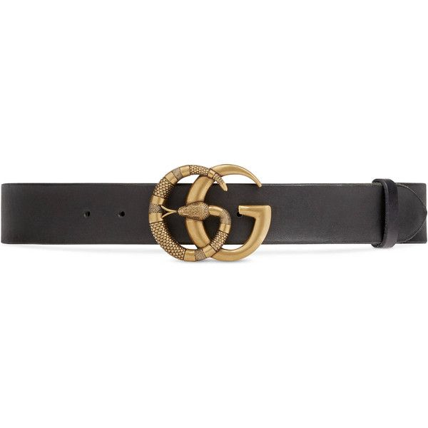 Studded leather belt with Double G buckle - Black Gucci
