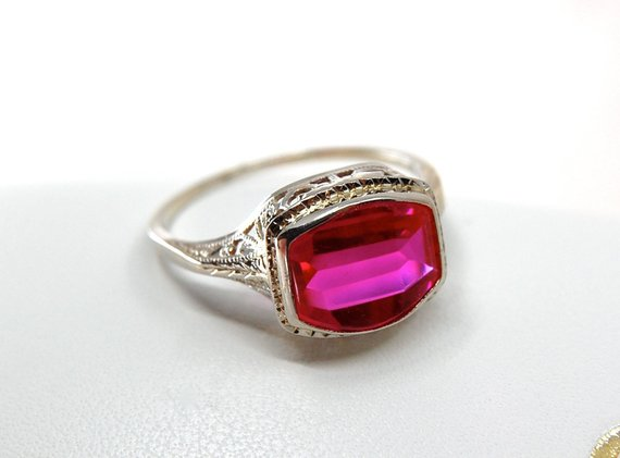 Art Deco Radiant Pink Ruby Filigree Ring In 14k White Gold C 1930s Size 7 1 2 Size 7 5 2 19gm Vintage Style Rings Filigree Ring Vintage Jewelry