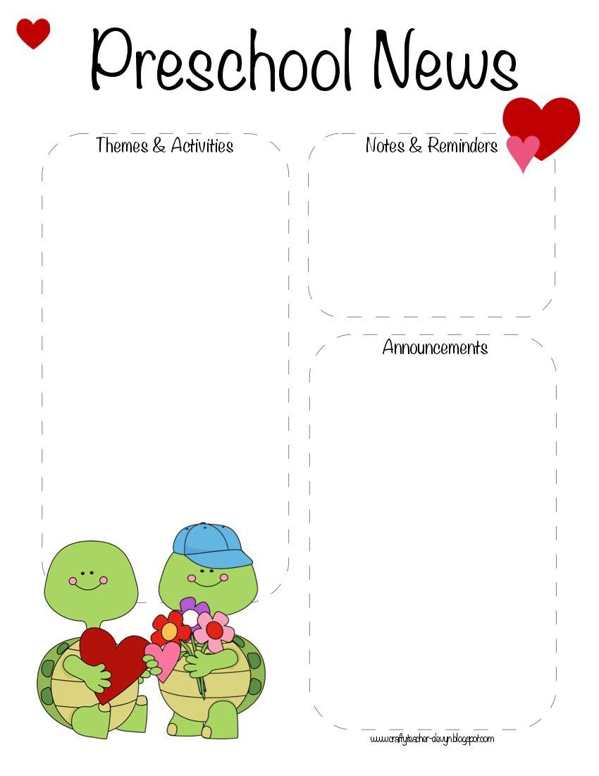 Preschool Valentine\'s Day, February Newsletter Template   Preschool ...