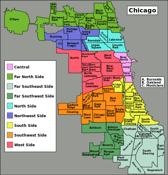 Areas Of Chicago To Avoid Map Chicago community areas map   South Side, Chicago   Wikipedia, the
