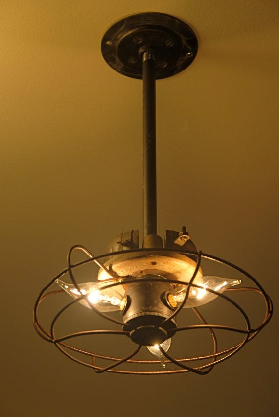 Vintage Industrial Fan Cage Pendant Light by Californiarediscover