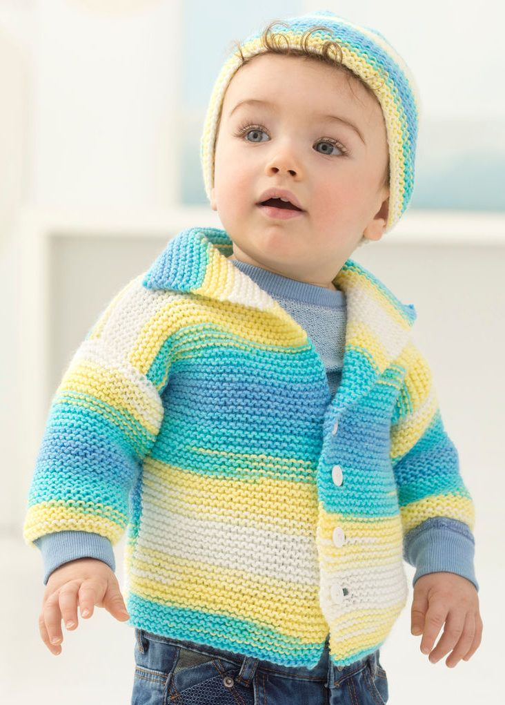 03587ef1f Free Knitting Pattern For Easy Garter Stitch Baby Cardi and Hat - Easy  Brooklyn Boy baby cardigan sweater in garter stitch with matching hat  pattern.