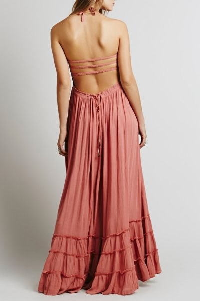 aea1c12567 Casual Solid Halter Backless Maxi Dress   Stuff to Buy
