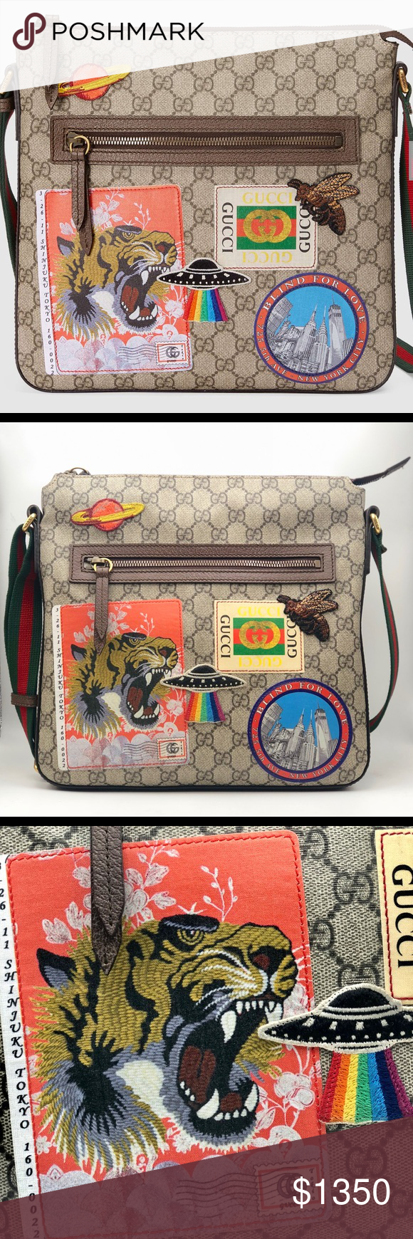 f6271118b61 Gucci Courrier soft GG Supreme messenger The appliqués are individually  embroidered and then skillfully hand-