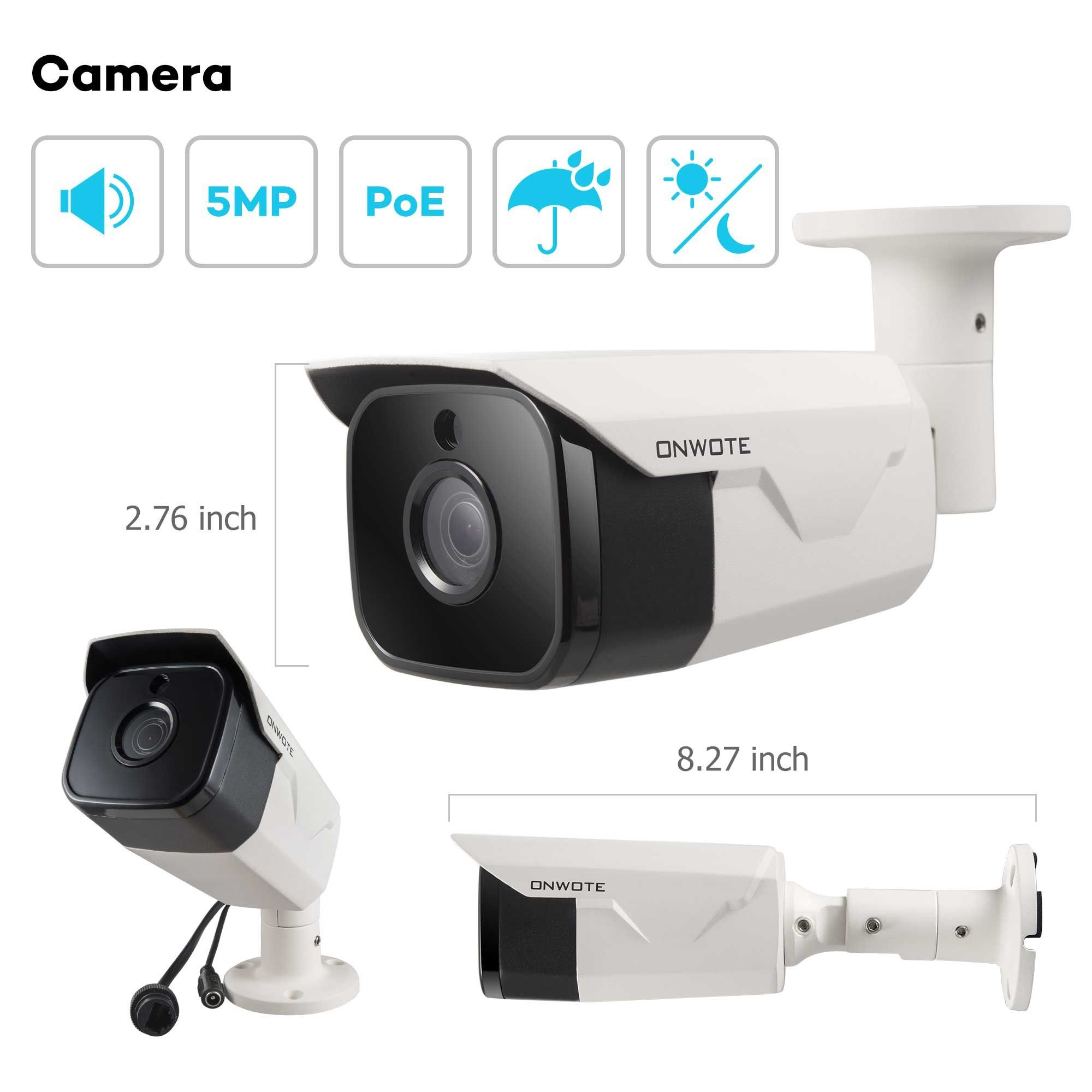 690a87ade3d ONWOTE 8CH Audio 5MP PoE Security Camera System with 2TB Hard Drive 8  Channel 5MP HD H.265 NVR 4 Outdoor 5MP 2592x1944P HD IP Cameras 100ft Night  Vision Add ...