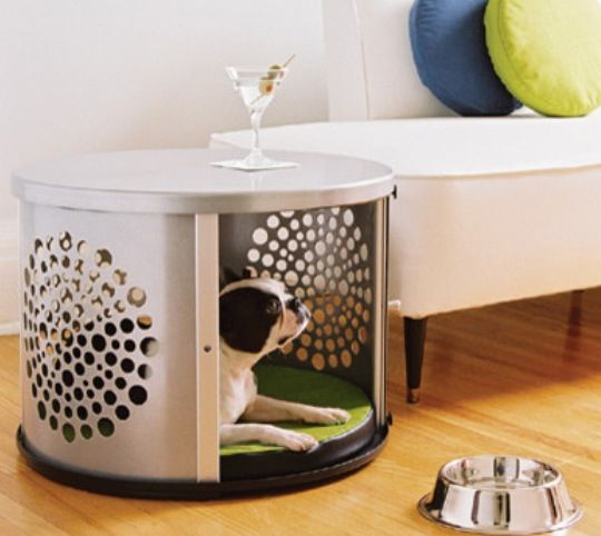 Side table/dog bed all in one. Too cute!