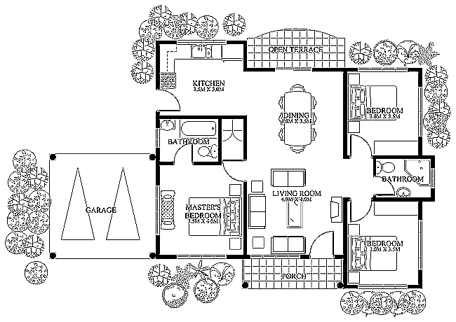 Small House Design 20120002  Pinoy Eplans  Modern House Designs Inspiration Three Bedroom Bungalow Design Design Ideas