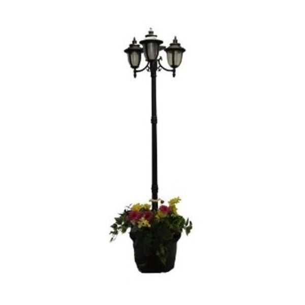 PSW- Solar Lights and Decor Solar Lamp Post and Planter 3 Heads -... ($216) ❤ liked on Polyvore featuring home, outdoors, outdoor lighting, solar powered patio lights, outdoor patio lights, black exterior lights and solar powered yard lights