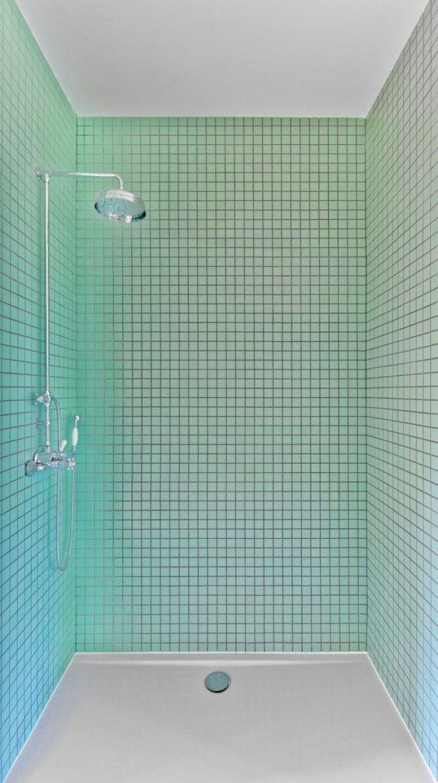 Mobile Kuecheninsel Dusche Mosaik Hellblau Fliesen
