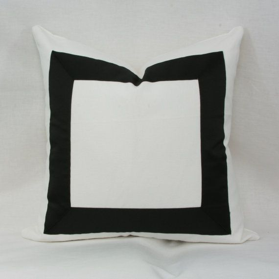 Black & white ribbon border decorative throw by JoyWorkshoppe